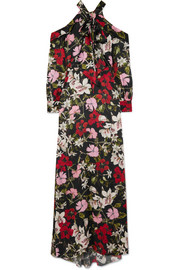 Anora cold-shoulder floral-print silk-satin gown