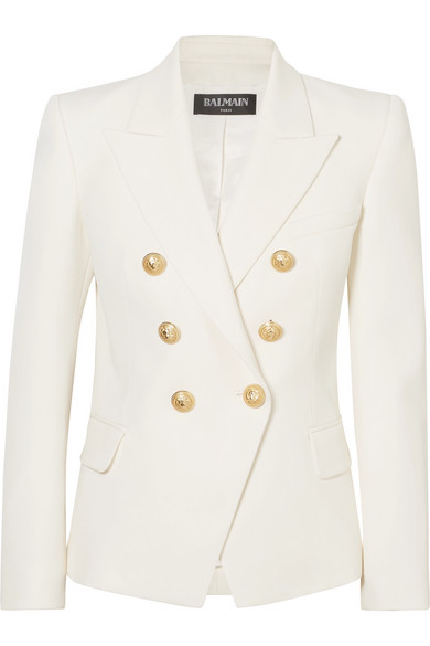 Double-Breasted Distressed Denim Blazer, Ivory