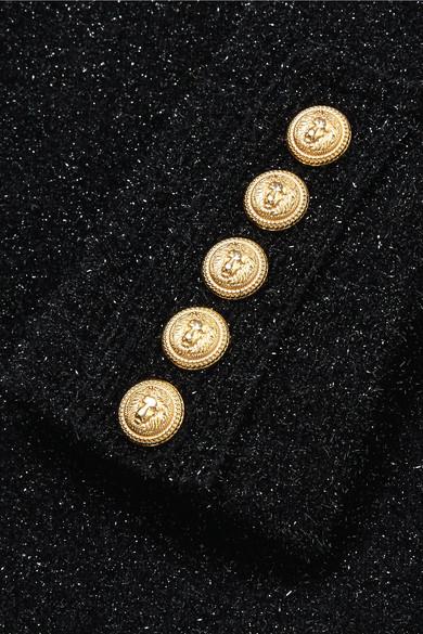 Balmain Minikleid aus Metallic-Stretch-Strick mit Zierknöpfen