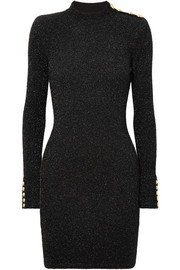 Button-detailed metallic stretch-knit mini dress