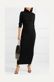 Button-detailed ribbed merino wool maxi dress