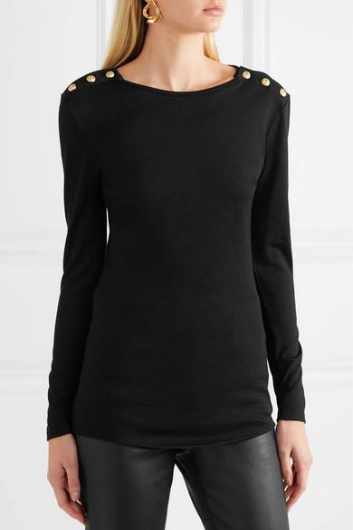 Balmain Pullover aus einer Woll-Seidenmischung mit Zierknöpfen