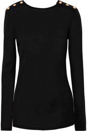 Balmain Button-detailed wool and silk-blend sweater