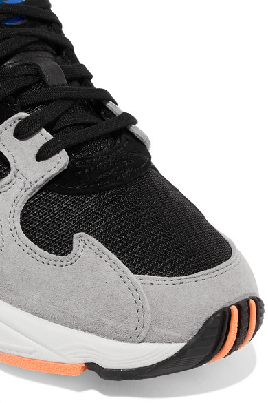 Adidas Originals Falcon Mesh Suede And Leather Sneakers Net A
