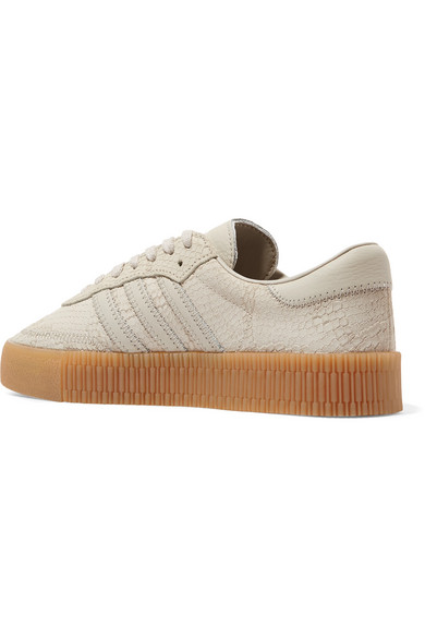 bbd3ec89931b adidas Originals. Samba Rose snake-effect suede and leather platform  sneakers. £75. Seasonal pick. Zoom In