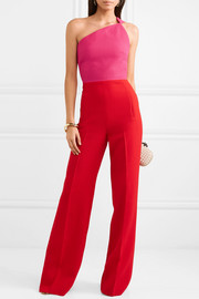 One-shoulder two-tone wool-crepe jumpsuit