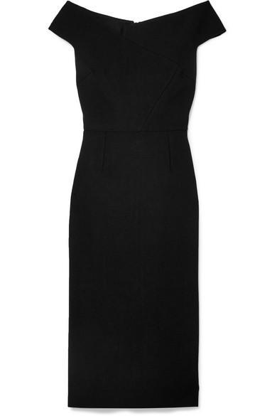 Darley Off-The-Shoulder Crepe Dress, Black