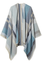 Tableau checked wool and cashmere-blend poncho