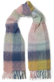 Fresia fringed checked textured-knit scarf