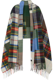 Tableau large fringed plaid wool scarf