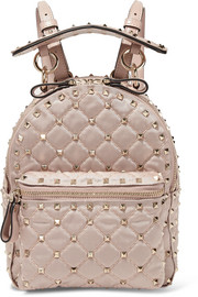 Valentino The Rockstud leather-trimmed quilted satin-twill backpack