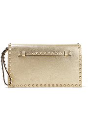 The Rockstud metallic textured-leather clutch