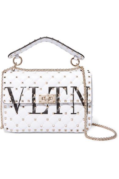 Valentino Rockstud Schultertasche aus gestepptem Leder mit Logo-Print