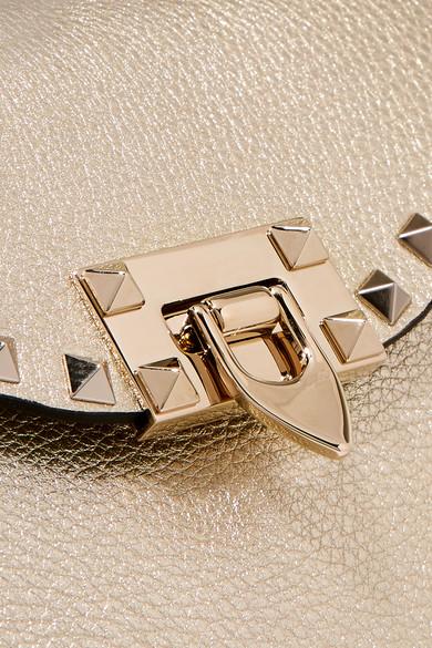 Valentino Rockstud Schultertasche aus strukturiertem Leder in Metallic-Optik