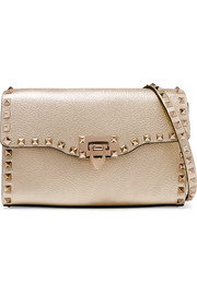 The Rockstud metallic textured-leather shoulder bag