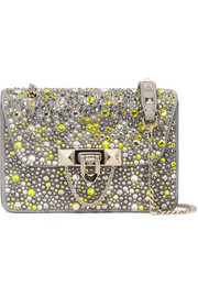 Valentino Garavani Demilune small embellished suede and leather shoulder bag