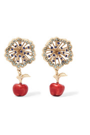 Valentino Gold-tone, crystal and enamel earrings