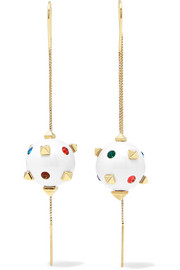 Valentino Globe gold-tone, crystal and enamel earrings
