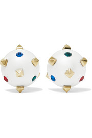 Valentino Valentino Garavani Globe gold-tone, crystal and enamel earrings