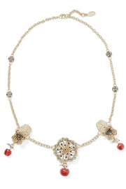 Valentino Gold-tone, crystal and enamel necklace