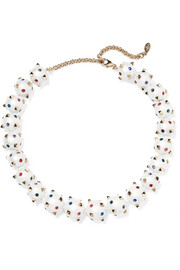 Valentino Globe gold-tone, crystal and enamel necklace