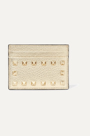 The Rockstud metallic textured-leather cardholder