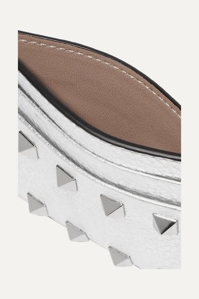 Valentino Rockstud Kartenetui aus strukturiertem Metallic-Leder