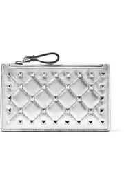 Valentino Valentino Garavani The Rockstud metallic quilted leather pouch