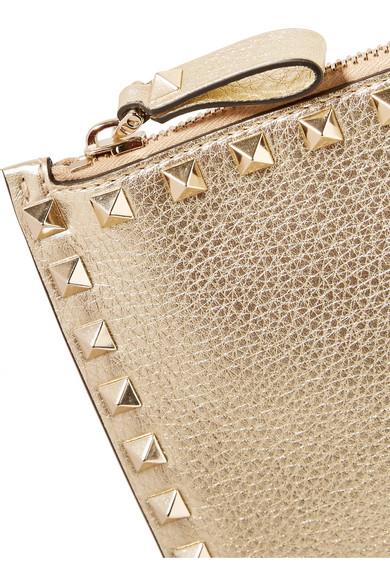 Valentino Rockstud Clutch aus strukturiertem Metallic-Leder