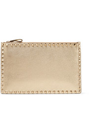 Rockstud metallic textured-leather clutch