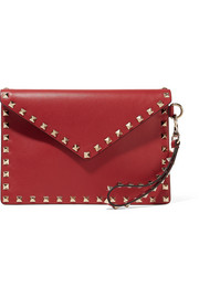 Valentino The Rockstud textured-leather pouch