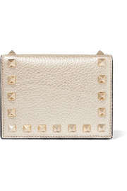 Rockstud metallic textured-leather wallet
