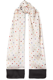 Polka-dot silk-georgette scarf