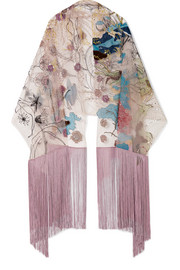 Valentino Embroidered silk-tulle scarf