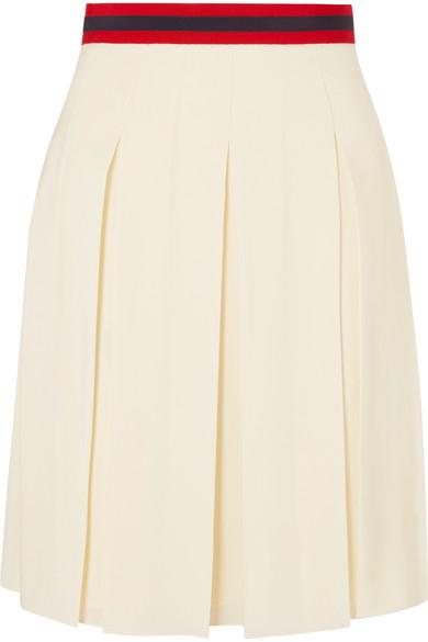 Gucci - Grosgrain-trimmed Pleated Washed-silk Skirt - Ecru