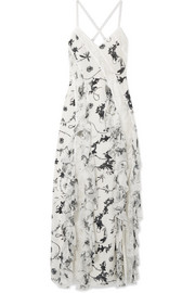 Jayda lace-trimmed ruffled floral-print silk crepe de chine maxi dress