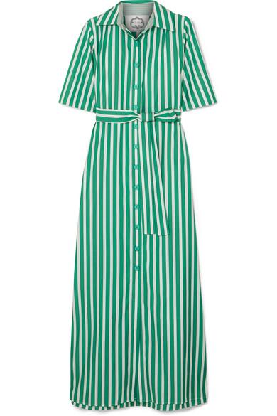 Valerie Striped Cotton-Poplin Maxi Dress, Green