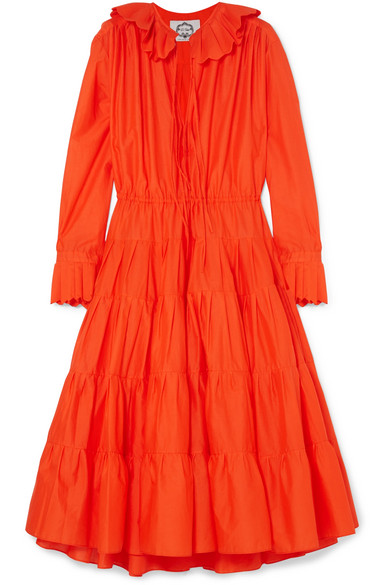 EVI GRINTELA Marie Tiered Ruffle-Trimmed Cotton Midi Dress in Red