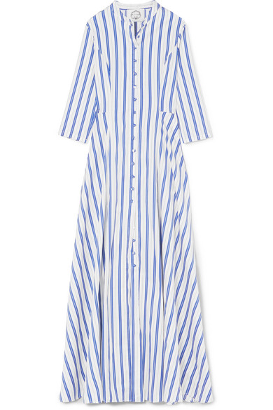 Karin Striped Cotton-blend Poplin Maxi Dress - Blue Evi Grintela e4M9Y6r