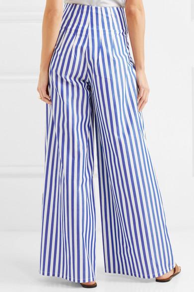 Cornella Striped Cotton-poplin Wide-leg Pants - Blue Evi Grintela pFxCpzPo