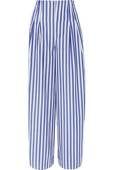 EVI GRINTELA Cornella Striped Cotton-Poplin Wide-Leg Pants in Blue