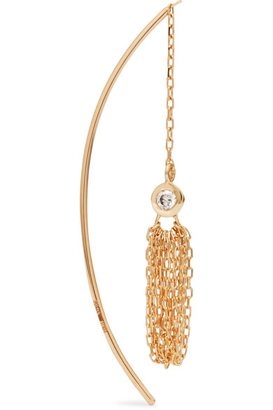 Hirotaka Crinoid Tasseled 10-karat Gold Diamond Earring