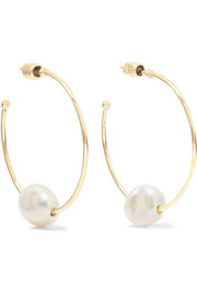 9-karat gold pearl hoop earrings