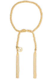 Carolina Bucci Peace Lucky 18-karat gold and silk bracelet