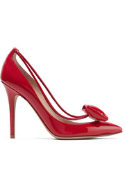 Glassglow PVC-trimmed patent-leather pumps