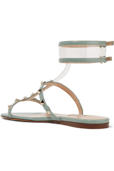Valentino Garavani Moonwalk Studded Leather And Pvc Sandals - Mint Valentino 7ilN6waJ7