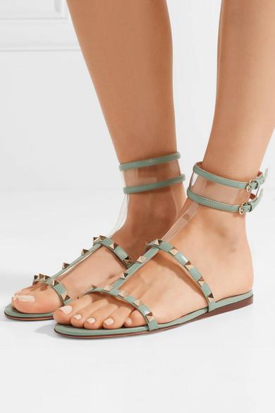 26bcd3f34be9 Valentino Garavani Moonwalk studded leather and PVC sandals
