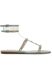 Moonwalk PVC-trimmed studded metallic leather sandals