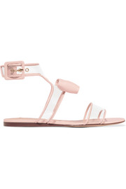 Glossed-leather and PVC sandals