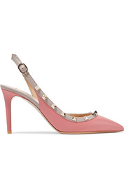 The Rockstud leather slingback pumps